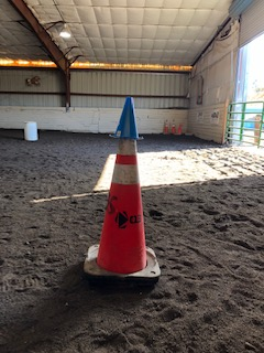 Put colored cones on top of larger cones around the ring